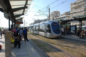 A typical Athens LRT train and station.