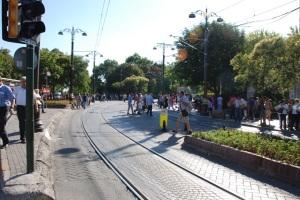 Crowds and LRT tracks