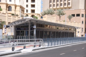 A typical Dubai LRT station - the only system with totally enclosed stations and automatic sliding entry doors.